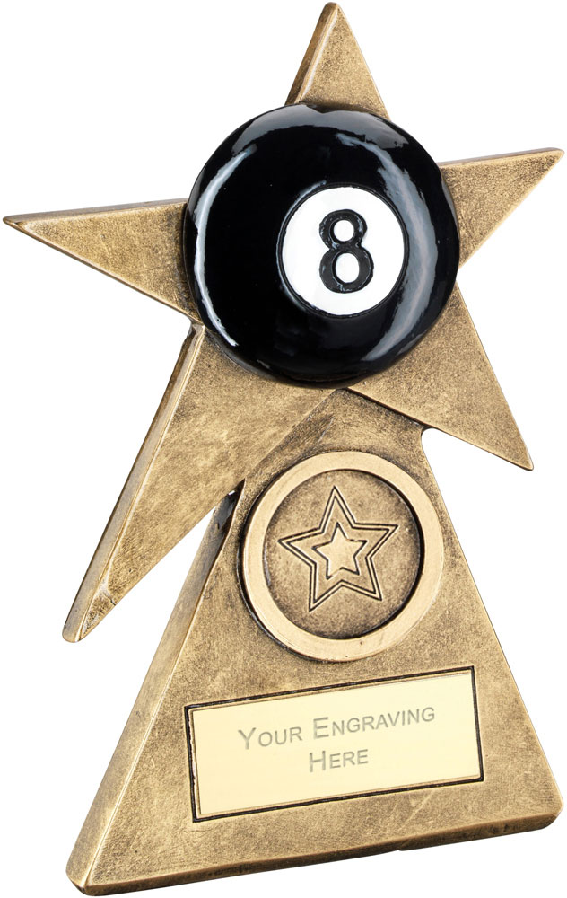 "Black Pool Star On Pyramid Base Trophy 15cm (6"")"