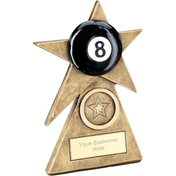 """Black Pool Star On Pyramid Base Trophy 10cm (4"""")"""