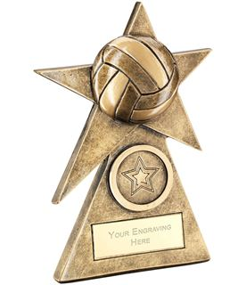 "Volleyball Star On Pyramid Base Trophy 15cm (6"")"