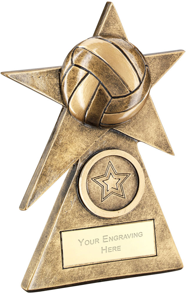 "Netball Star On Pyramid Base Trophy 15cm (6"")"