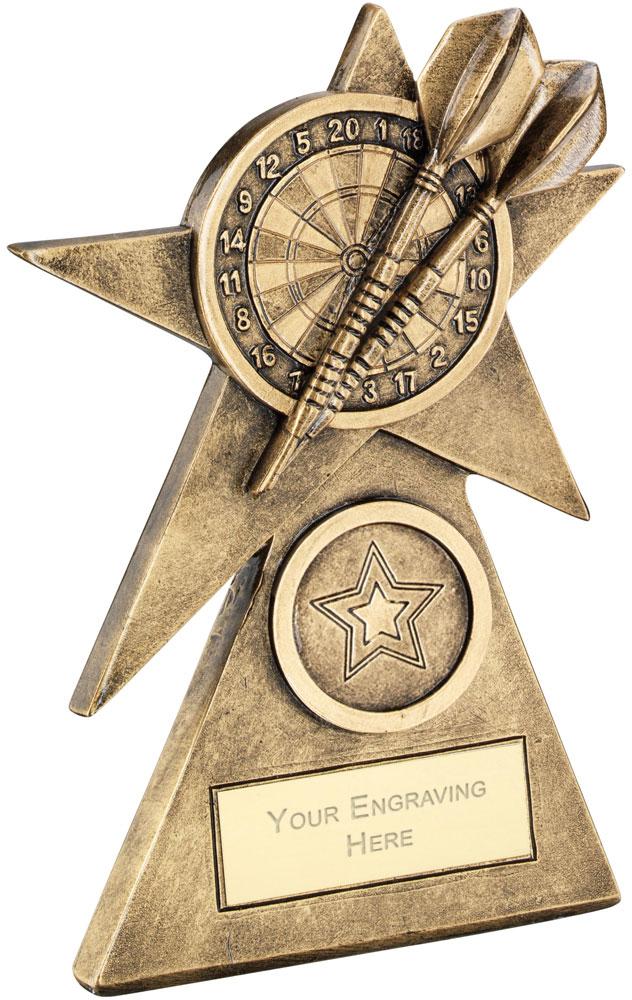 """Darts Star On Pyramid Base Trophy 10cm (4"""")"""