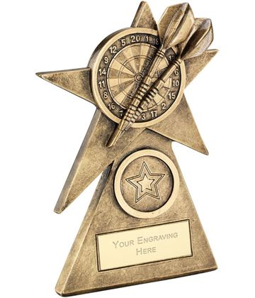 "Darts Star On Pyramid Base Trophy 10cm (4"")"
