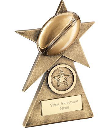"""Rugby Star On Pyramid Base Trophy 10cm (4"""")"""