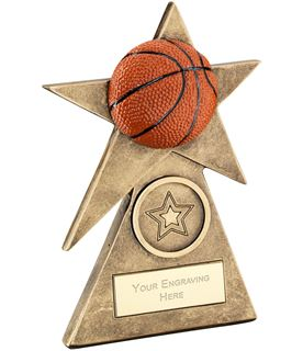 "Orange Basketball Star On Pyramid Base Trophy 12.5cm (5"")"