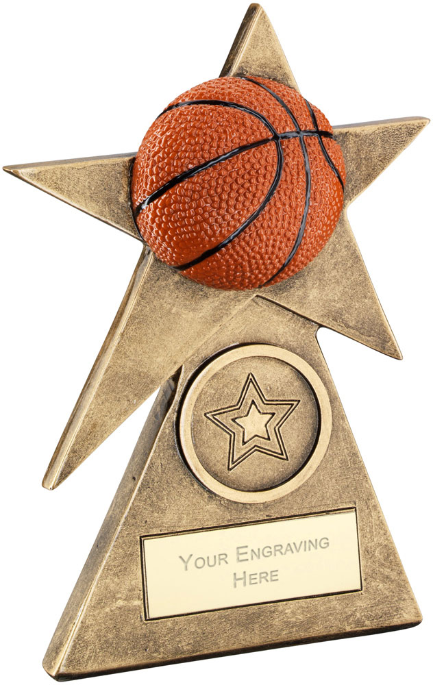 "Orange Basketball Star On Pyramid Base Trophy 15cm (6"")"