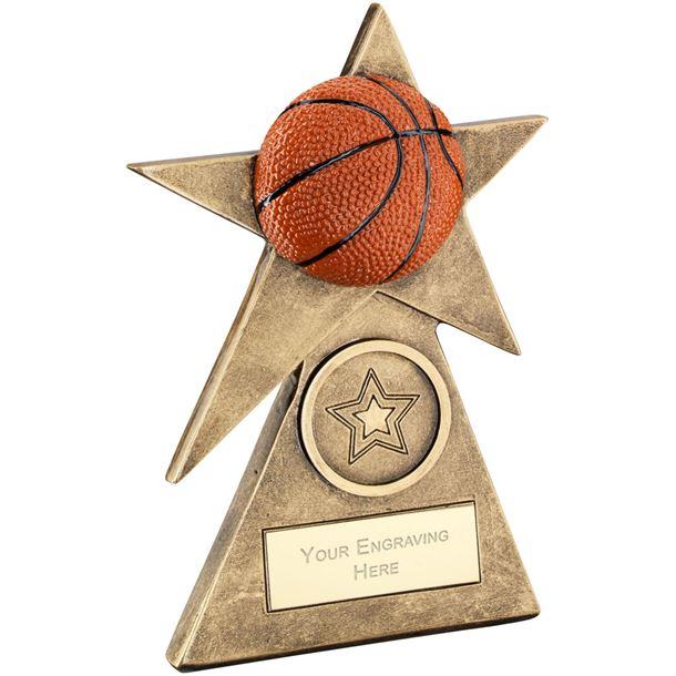 """Orange Basketball Star On Pyramid Base Trophy 10cm (4"""")"""