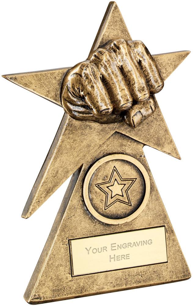 """Martial Arts Star On Pyramid Base Trophy 15cm (6"""")"""
