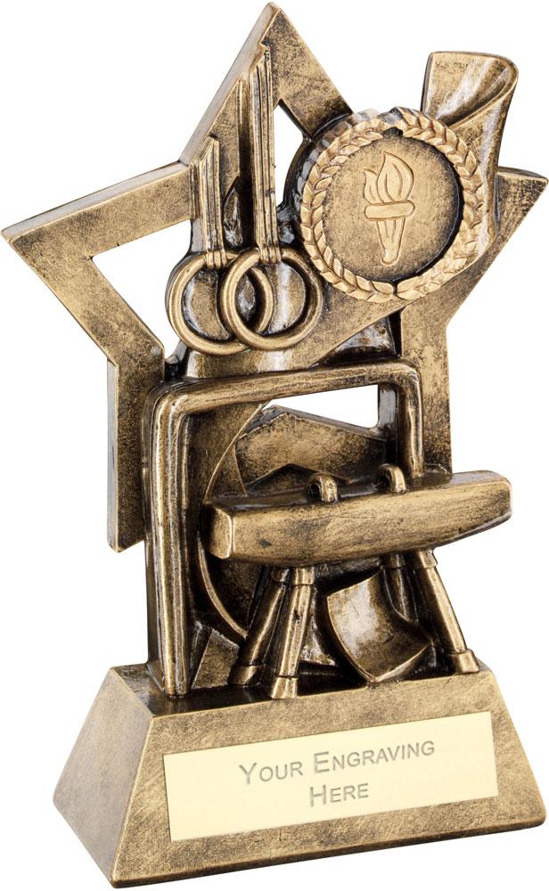 """Gymnastics On Star Backdrop Trophy 14.5cm (5.75"""")"""