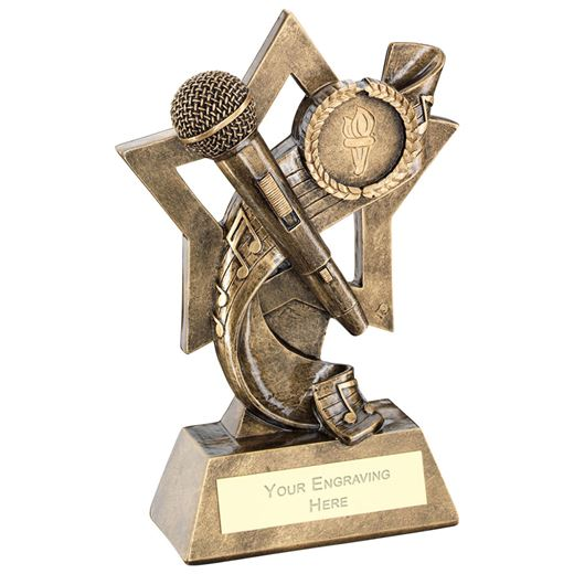 "Music On Star Backdrop Trophy 14.5cm (5.75"")"