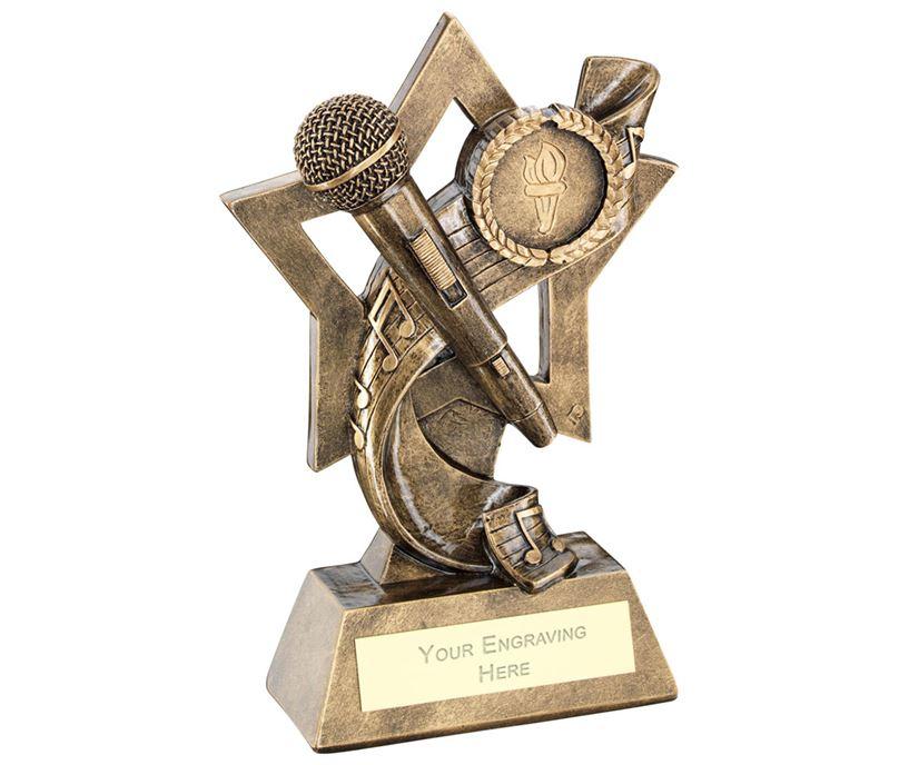 "Music On Star Backdrop Trophy 14.5cm (5.75"")"