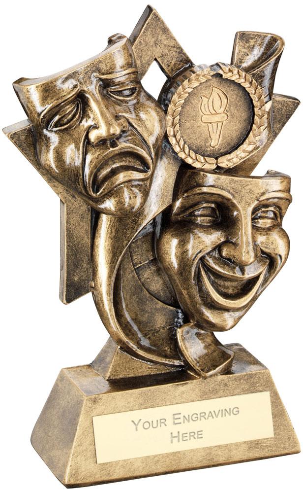 "Drama Masks On Star Backdrop Trophy 14.5cm (5.75"")"