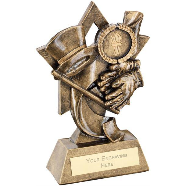 """Top Hat Gloves Cane On Star Backdrop Trophy 14.5cm (5.75"""")"""
