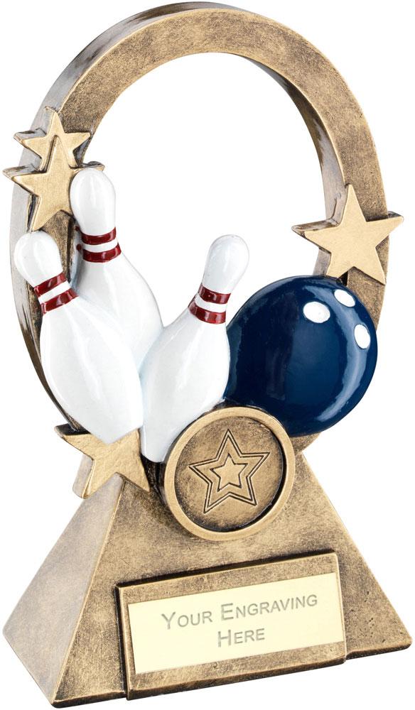 """Multi Ten Pin Oval Stars Series Trophy 16cm (6.25"""")"""
