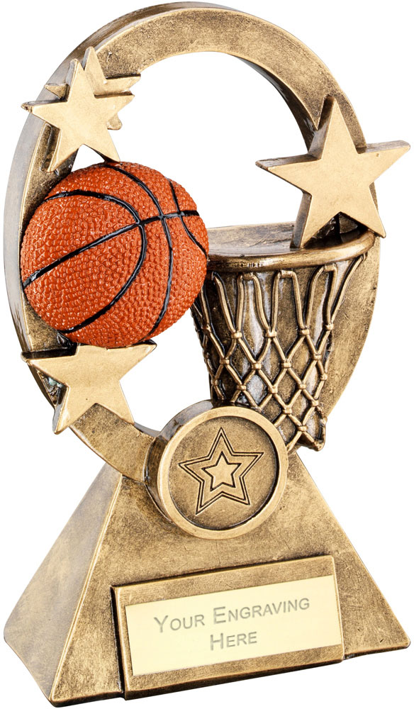 "Orange Basketball Oval Stars Series Trophy 16cm (6.25"")"