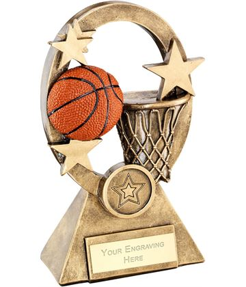 "Orange Basketball Oval Stars Series Trophy 18.5cm (7.25"")"
