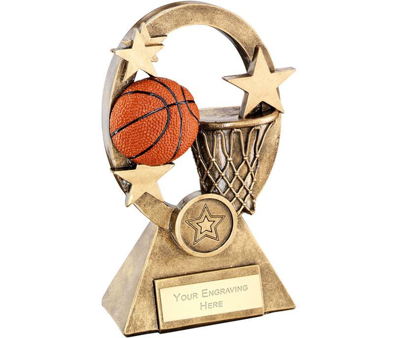 "Orange Basketball Oval Stars Series Trophy 18.5cm (7.25"")"