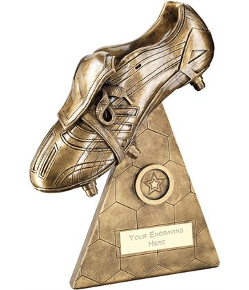 "Football Boot On Pyramid Riser Trophy 19cm (7.5"")"