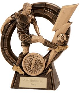 "Male Thunderbolt Striker Football Award 12.5cm (5"")"