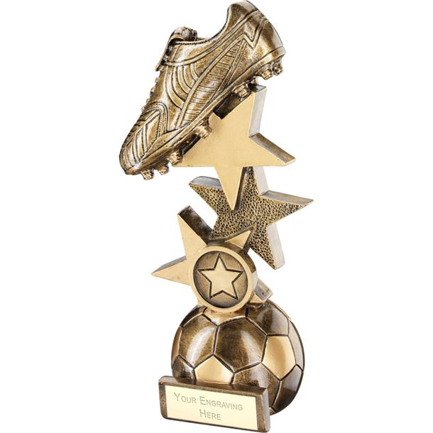 "Football Boot On Multi-Star Riser Trophy 23cm (9"")"