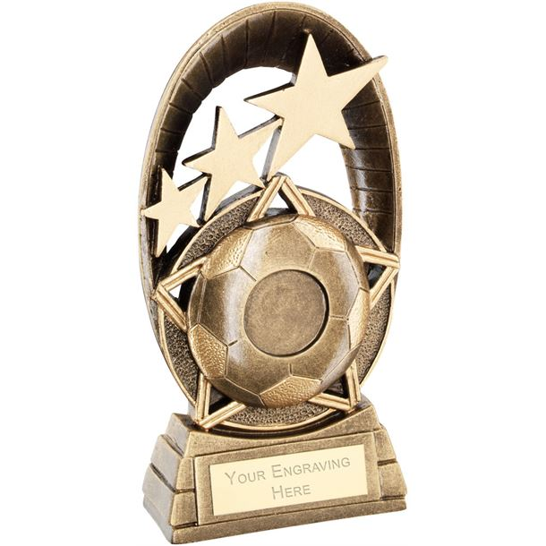 "Football Tri-Star Oval Plaque Trophy 14cm (5.5"")"