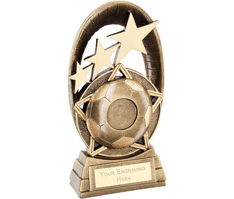 "Football Tri-Star Oval Plaque Trophy 16.5cm (6.5"")"