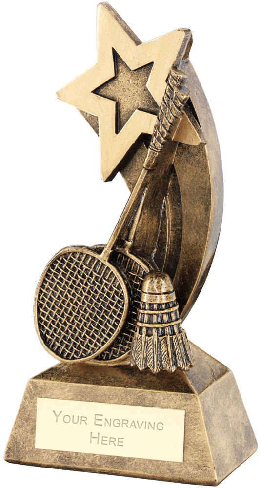"Badminton Rackets Shuttlecock With Shooting Star Trophy 14.5cm (5.75"")"