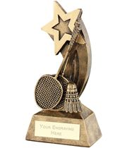 """Badminton Rackets Shuttlecock With Shooting Star Trophy 12.5cm (5"""")"""