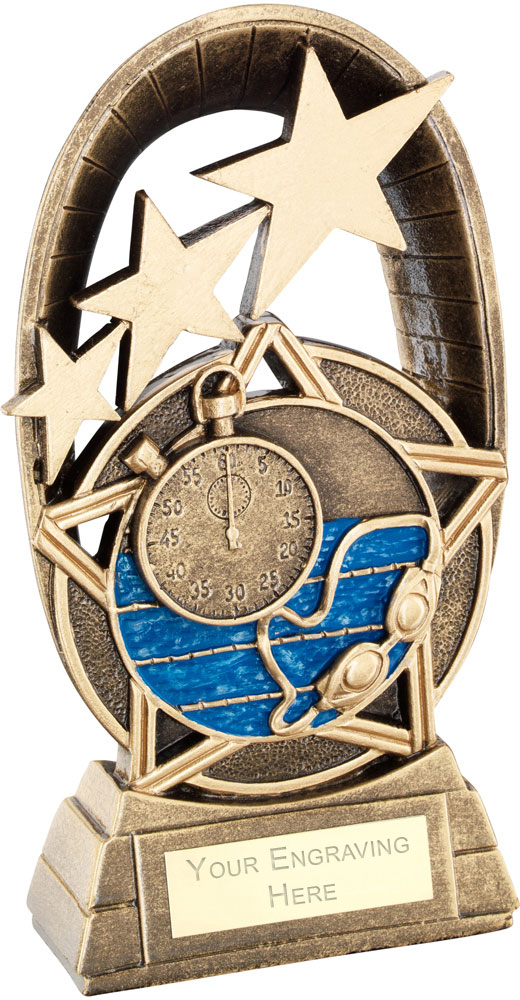 "Blue Swimming Tri-Star Oval Plaque Trophy 18.5cm (7.25"")"
