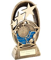 """Blue Swimming Tri-Star Oval Plaque Trophy 14cm (5.5"""")"""