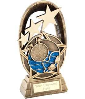 "Blue Swimming Tri-Star Oval Plaque Trophy 14cm (5.5"")"