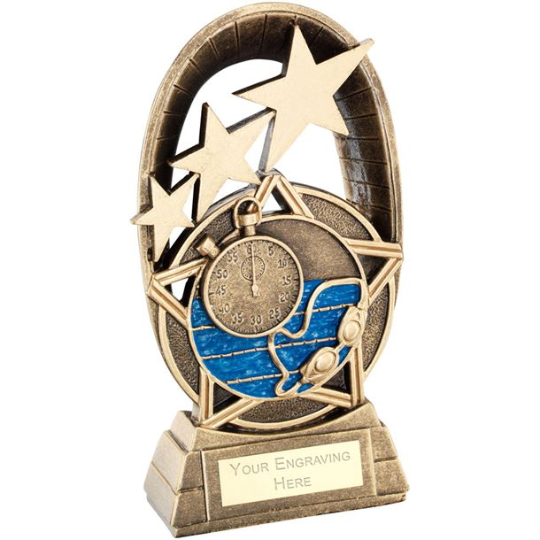 "Blue Swimming Tri-Star Oval Plaque Trophy 16.5cm (6.5"")"
