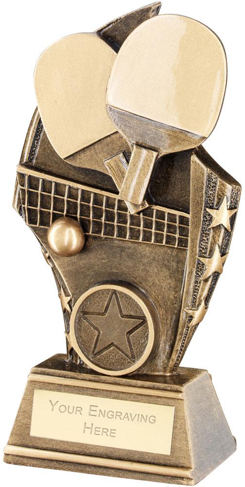 "Table Tennis Curved Plaque Trophy 14cm (5.5"")"