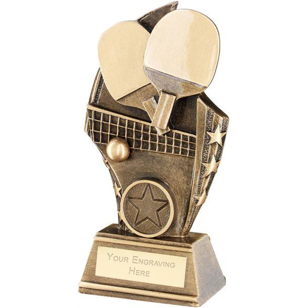 "Table Tennis Curved Plaque Trophy 17cm (6.75"")"
