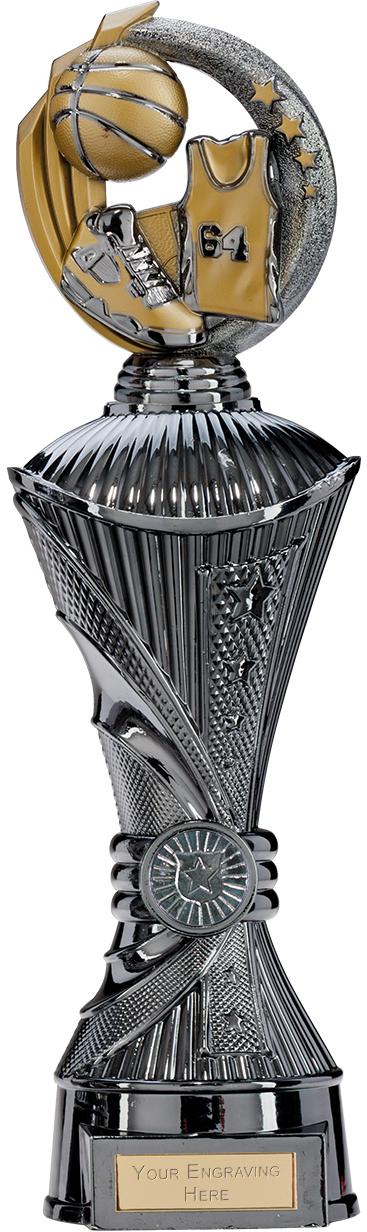 "Renegade Basketball Heavyweight Trophy Gunmetal & Gold 35cm (13.75"")"