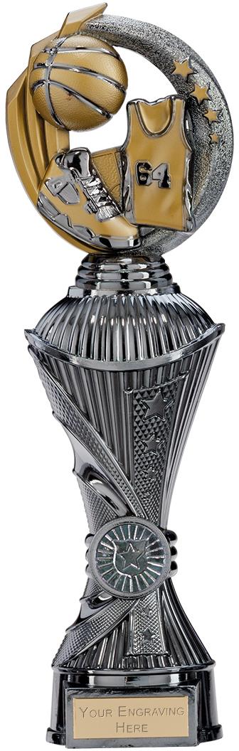 "Renegade Basketball Heavyweight Trophy Gunmetal & Gold 30cm (11.75"")"