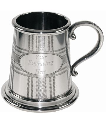 "Tartan Embossed 1/4pt Sheffield Pewter Tankard 7.5cm (3"")"