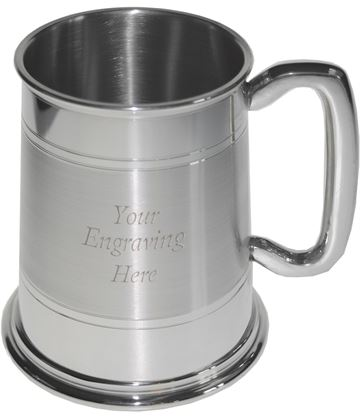 "Double Lined Part Satin 1pt Sheffield Pewter Tankard 11.5cm (4.5"")"