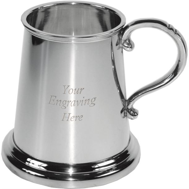 "1/4pt All Gone Etched Glass Bottom Sheffield Pewter Tankard 7.5cm (3"")"