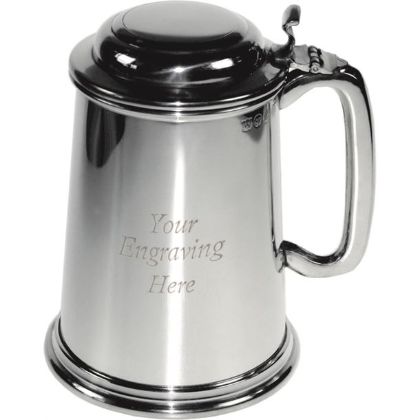 "Plain Polished 1pt Sheffield Pewter Tankard with Lid 14.5cm (5.75"")"