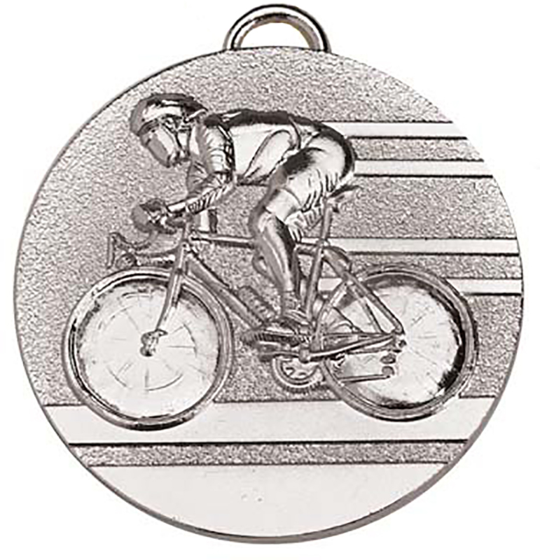 """Target50 Silver Cycling Medal 50mm (2"""") with Red, White and Blue Ribbon"""