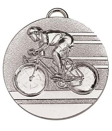"Target50 Silver Cycling Medal 50mm (2"") with Red, White and Blue Ribbon"