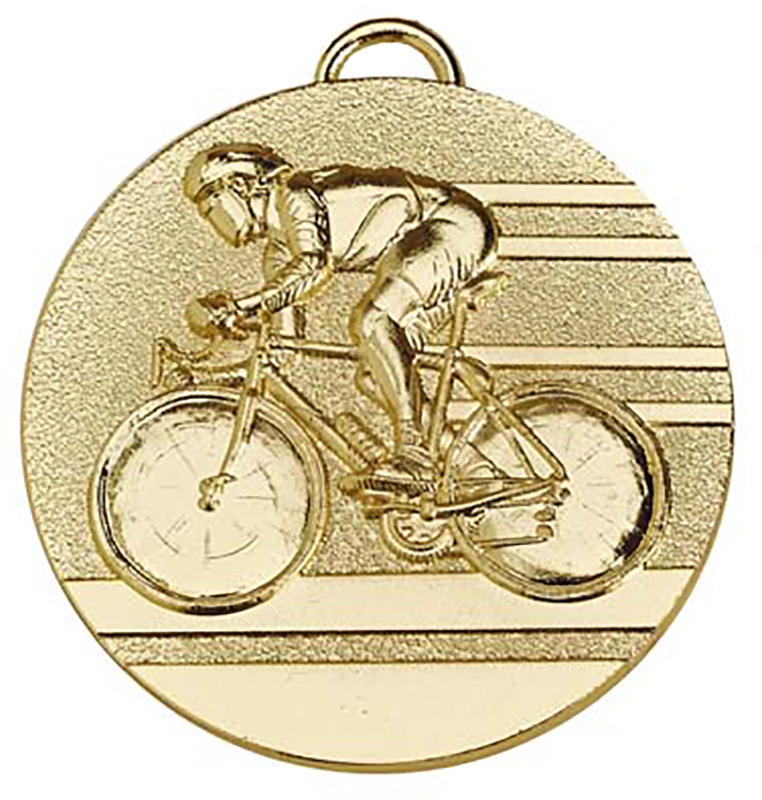 """Target50 Gold Cycling Medal 50mm (2"""") with Red, White and Blue Ribbon"""