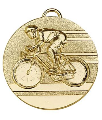 "Target50 Gold Cycling Medal 50mm (2"") with Red, White and Blue Ribbon"