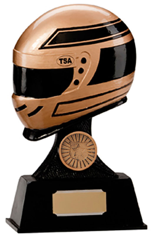 "Gold & Black Resin Motorsport Helmet Trophy 17.5cm (6.75"")"