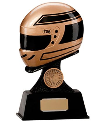 "Gold & Black Resin Motorsport Helmet Trophy 17.5cm (6.75"")"