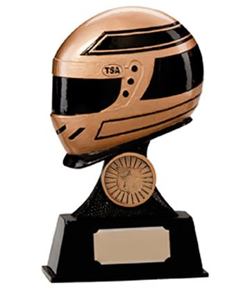 "Gold & Black Resin Motorsport Helmet Trophy 15.5cm (6"")"
