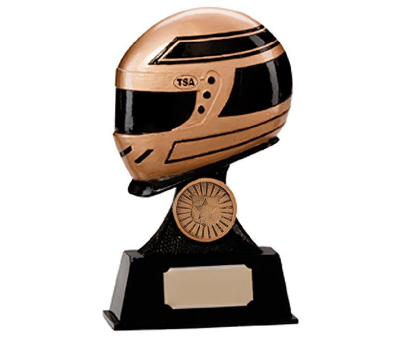 "Gold & Black Resin Motorsport Helmet Trophy 15.5cm (6"")"
