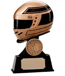 "Gold & Black Resin Motorsport Helmet Trophy 12.5cm (5"")"