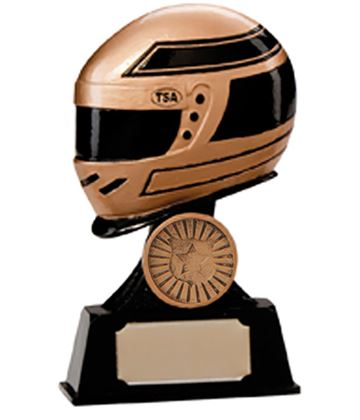 "Gold & Black Resin Motorsport Helmet Trophy 12.5cm (5"")"