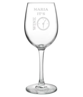 "It's Wine Time Large Personalised Wine Glass 20.5cm (8"")"